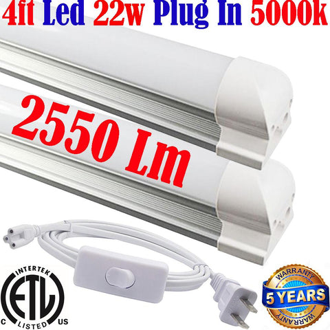 Wall Plug In Led Lights: Canada T8 2pack 4ft Led 22w 5000k Home Shop 120V - LED Light World