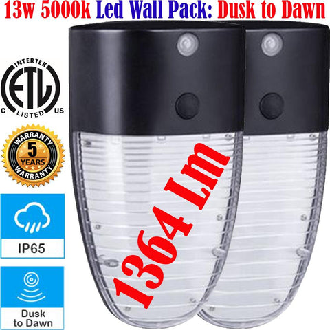 Outdoor Stair Lights, Canada 13w 5000k 2pack Led Dusk to Dawn Porch House Wall - LED Light World