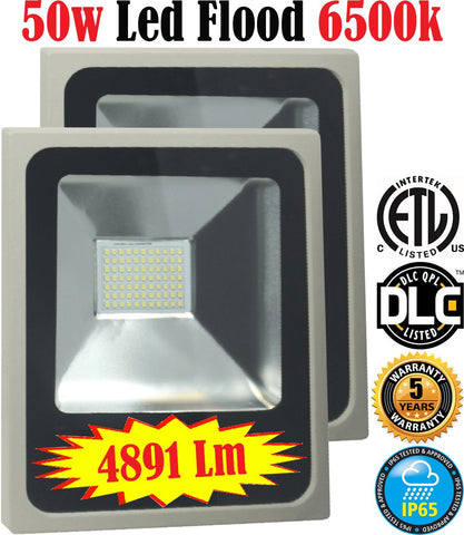 Outdoor Led Flood Lights: Canada 2pack 50w 6500k Bright Yard Commercial - LED Light World