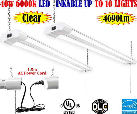 Led Garage Lights Canada: 4ft 40w 2pack Clear 6000k Brightest Workshop Shop - LED Light Canada