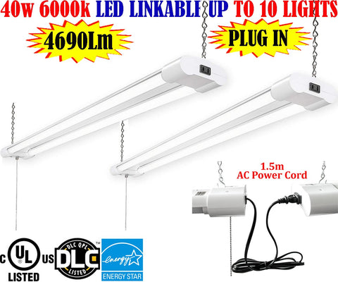 Plug In Garage Light, Canada: 4ft 40w 2pack 6000k Brightest Workshop Shop - LED Light Canada