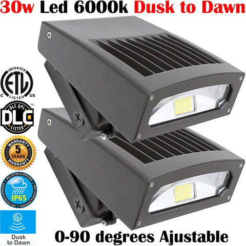 Dusk To Dawn Outdoor Lights: Canada 2 Pack Led 30w 6000k Garage Yard