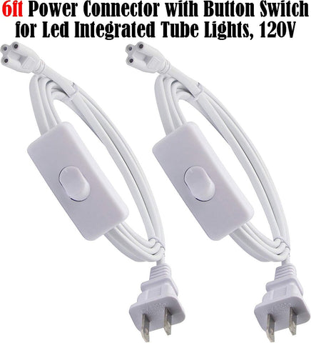 T8 T5 Power Cord: 6ft 2pack Connectors with Button Switch Plug In 120V