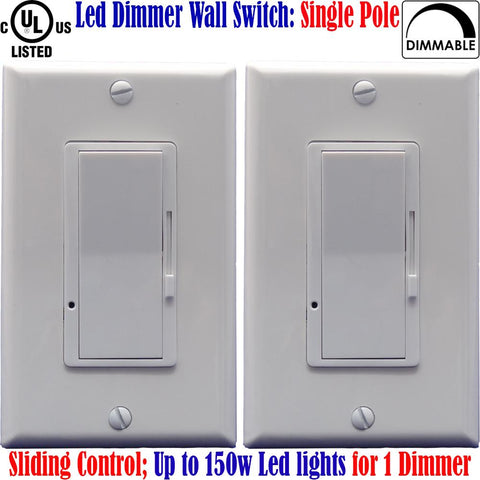 Dimmer For Led Lights: Canada 2pack Dimmable Switch Single Pole 150w - LED Light World