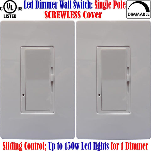 Led Dimmable Switch: Canada 2pack Single Pole Screwless Switch 120V - LED Light World