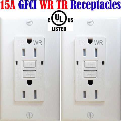 WR TR GFCI: Canada 15amp 2pack Weather Resistant Outlet Outdoor Receptacle - LED Light World
