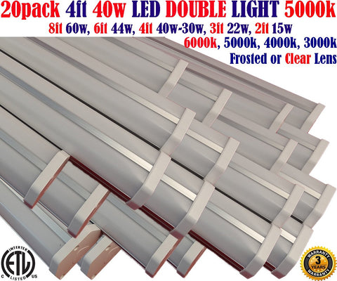 4 Foot Led Shop Lights Canada: 4ft 40w 20pack 5000k Garage Workshop Office - LED Light World