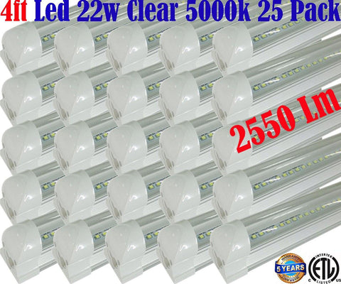 4 Foot Led Shop Lights Canada, T8 22w 25 Pack Clear 5000k Warehouse Garage - LED Light World