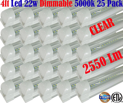 Dimmable Led Shop Lights, Canada T8 25pack 4ft 22w Clear 5000k Workshop Garage - LED Light Canada