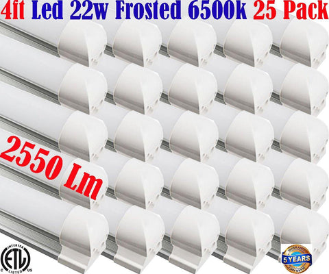 T8 Led Tube Light Fixture, Canada 25pack 4ft 22w 6500k Shop Garage Office - LED Light World