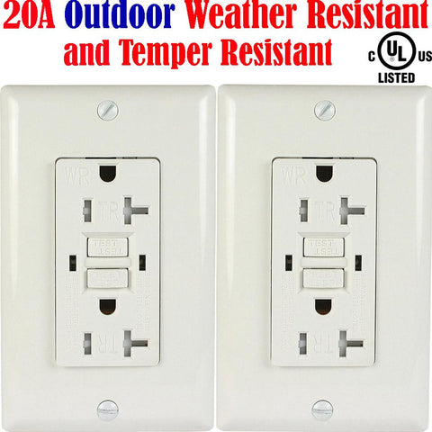 20 amp Weather Resistant Outlet: Canada 2pack Weather Tamper Resistant WR TR - LED Light Canada