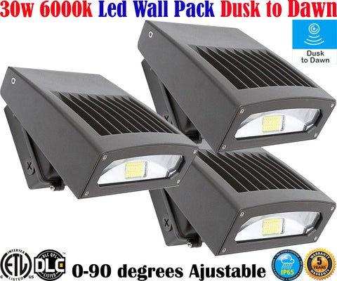 Outdoor Wall Lighting Canada: 30w 6000k 3 Pack Led Exterior Garage Exterior House - LED Light World