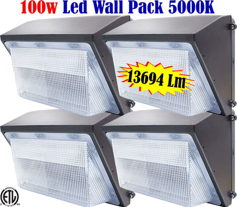 Outdoor Lighting Canada: 100w 5000k 4pack Outside Exterior Garage Backyard Yard - LED Light World