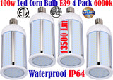 E39 Led Bulb, Canada 100w 4pack 6000k Corn Mogul Garage Shop Warehouse - LED Light World