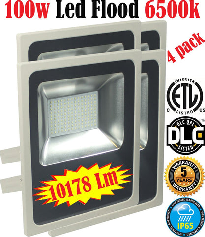 Led Flood Lights Canada: 4pack 100w 6500k Brightest Outdoor Commercial - LED Light World