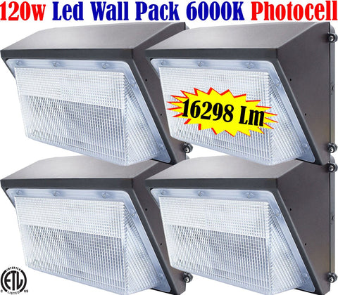 Lighting Wall Pack, Canada: 4pack 120w Photocell 6000k Outdoor Yard Garage - LED Light World