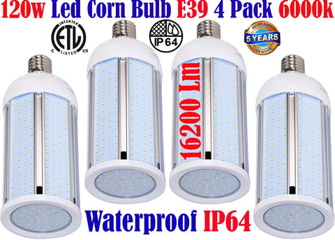 Large Led Light Bulbs, Canada 120w 4pack 6000k Corn Mogul Garage Shop Warehouse - LED Light World