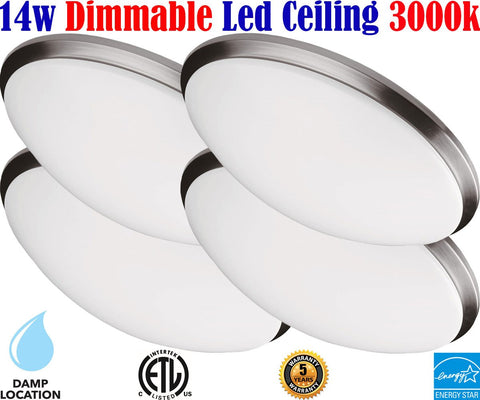Flush Mount Ceiling Lights Canada: 4pack Led 14w 3000k Bedroom Kitchen - LED Light World