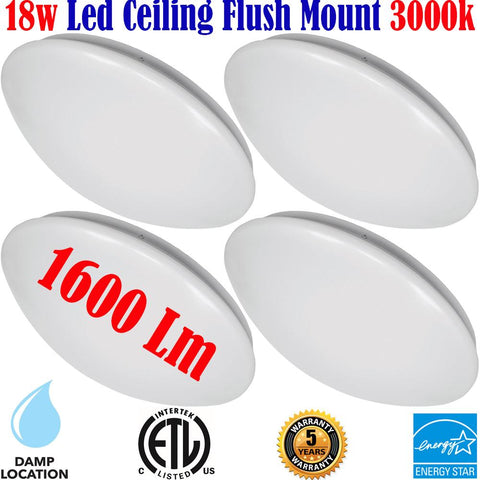 Flush Mount Lighting Canada 4 Pack 18w 3000k Kitchen Hallway Bathroom - LED Light World