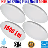 Flush Bedroom Light: Canada 4 Pack 18w 5000k Hallway Bathroom Kitchen - LED Light World