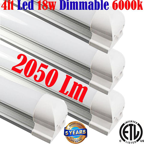Dimmable Led Tube Lights: Canada T8 4pack 18w 6000k Garage Shop Kitchen
