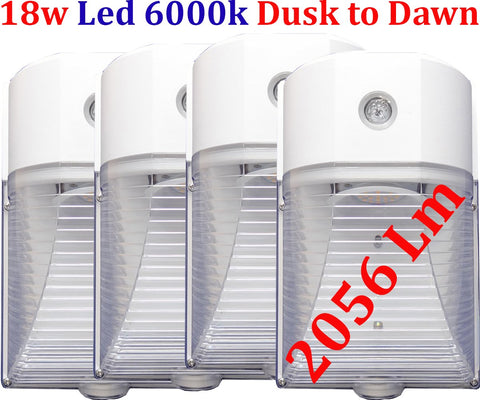Brightest Led Dusk To Dawn Light, Canada 4pack 18w 6000k Garage Yard - LED Light World