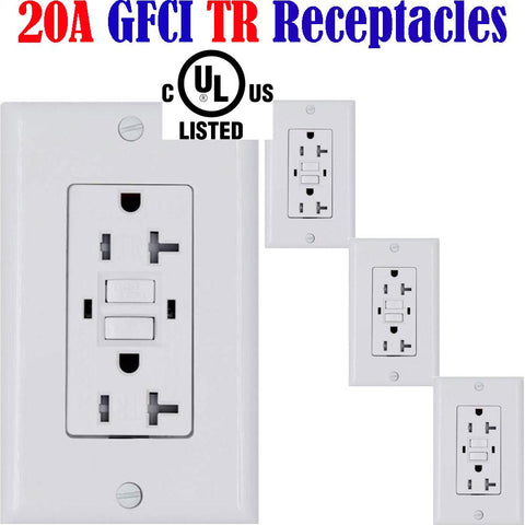20a GFCI Receptacle: Canada 20amp 4pack Temper Resistant Outlet TR - LED Light Canada