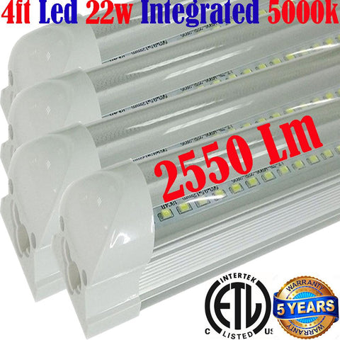 Garage Light Fixtures, Canada T8 4pack 4ft Led 22w Clear 5000k Shop - LED Light World