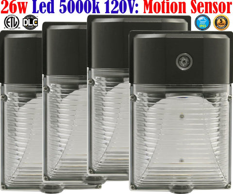 Outdoor Led Motion Sensor Light: Canada 4 Pack 26w 5000k Porch Garage - LED Light World