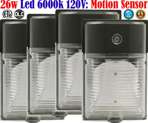 Motion Sensor Outdoor Wall Light: Canada 4 Pack 26w 6000k Garage Porch - LED Light World