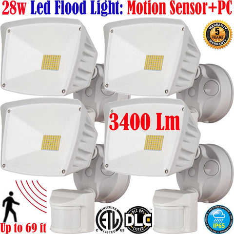 White Outdoor Wall Light with Motion Sensor: Canada 40w 6000k 4pack Porch - LED Light World
