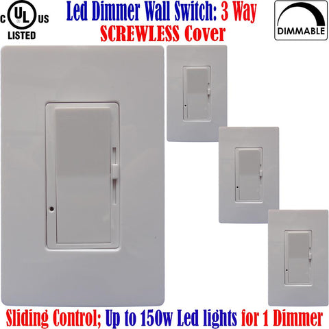 Dimmable 3 Way Switch: Canada Led 4pack Screwless Dimmer 150w - LED Light World