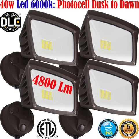 Outdoor Garage Lights, Canada 40w 6000k 4800Lm Led 4pack Dusk to Dawn Yard - LED Light World