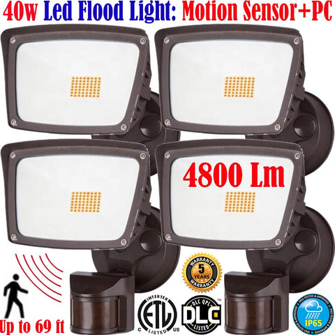 Outdoor Led Motion Sensor Light: 4pack 40w 5000k Garage Porch Yard 120V