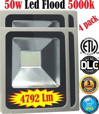 Outdoor Lighting Mississauga: Canada 4pack Led 50w 5000k Flood Exterior - LED Light World