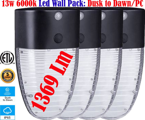 Outdoor House Lights, Canada 13w 6000k 4pack Led Dusk to Dawn Outside Porch - LED Light Canada
