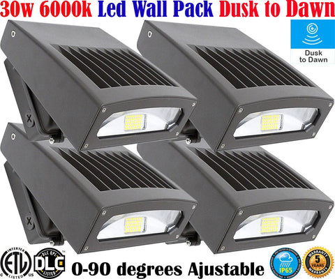 Outdoor Light Fixtures Canada 30w 6000k 4pack Led Exterior Garage Yard Outside House - LED Light World