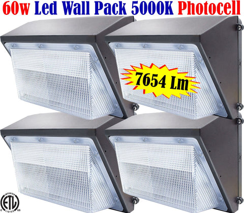 Led Wall Pack Canada: 4pack 60w Dusk to Dawn 5000k Outdoor Barn Garage Yard - LED Light World