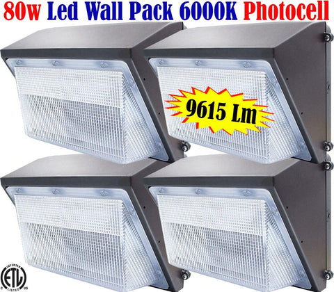 Led Wall Pack Canada: 80w 5000k 4pack Dusk to Dawn Outdoor Barn Garage Yard