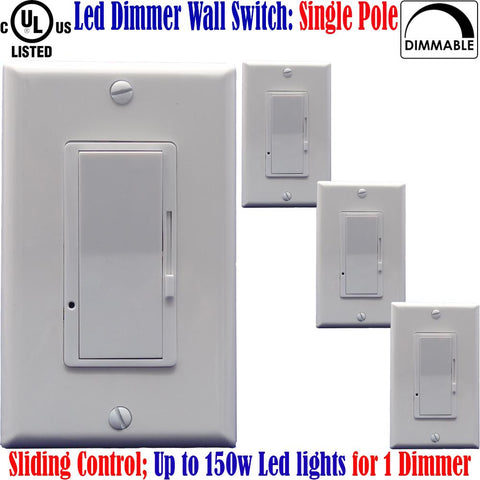 Led Dimmer Switch Canada: 4pack Single Pole Dimmable Switch Plates 150w