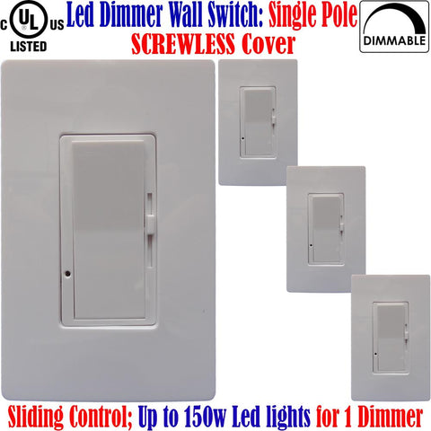 Led Compatible Dimmer: Canada 4pack Single Pole Screwless Switch 150w - LED Light World