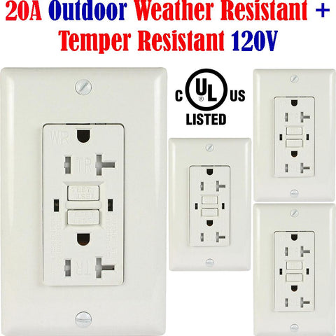 20a GFCI: Canada 4pack Weather Resistant Outlet Outside Receptacle WR TR