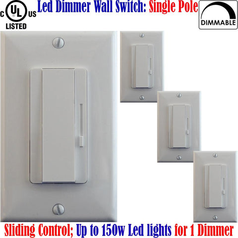 Led Dimmer Switch: Canada 4pack Single Pole Dimmable White Plates 150w - LED Light World