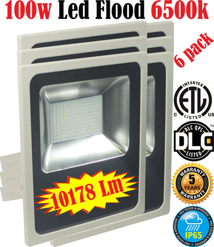 Exterior Led Flood Lights Canada: 6 Pack 100w 6500k Brightest Yard 120V - LED Light World