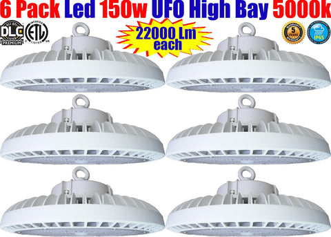 High Bay Led Light Fixtures: UFO Canada 6 Pack 150w 5000k Shop Warehouse Gym - LED Light World