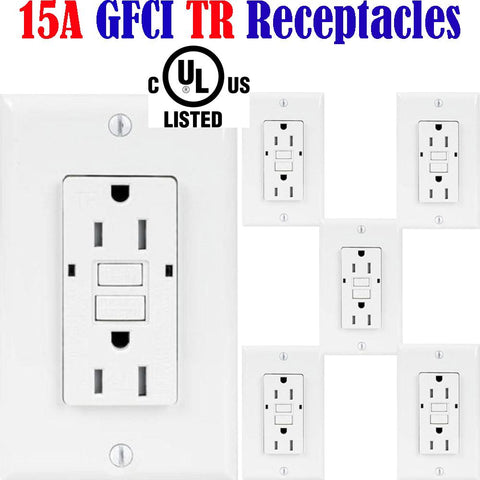 15 amp GFCI: Canada 6pack Temper Resistant Receptacle Outlet TR 120V - LED Light World