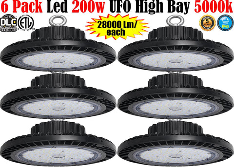 200w UFO Led High Bay Light: Canada 6 Pack 5000k Farmhouse Shop Garage
