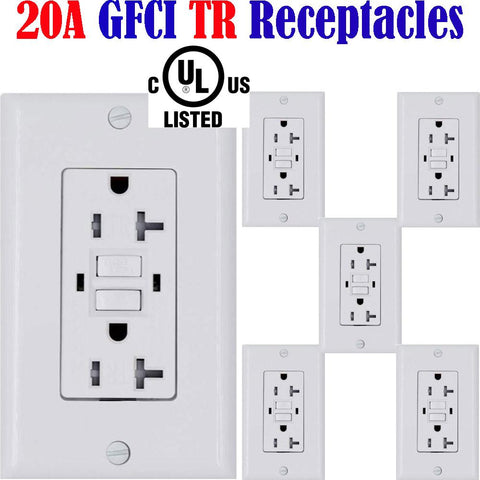 20 amp GFCI Receptacle: Canada 6pack Temper Resistant Outlet TR 120V - LED Light Canada
