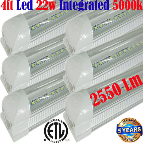 Led Garage Lights Canada, T8 6pack 4ft 22w Clear 5000k Shop Workshop - LED Light World