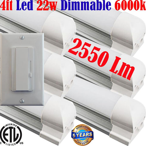 Dimmable Led Shop Lights, Canada: Led Dimmer+T8 6pack 4ft 22w 6000k Garage - LED Light World